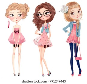 cute fashion cartoon girls