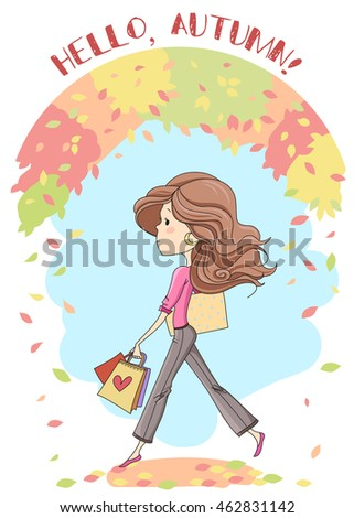 cute fashion girl background autumn leaves stock illustration