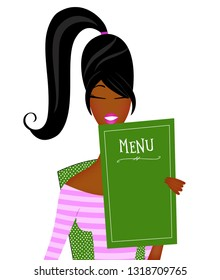 Cute fashion illustration of a trendy young black woman with a ponytail reading a menu