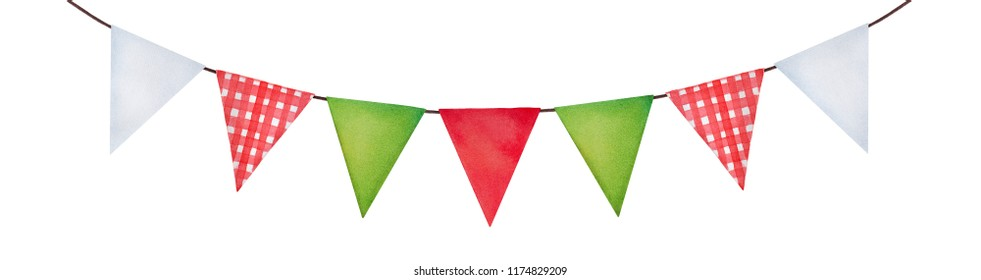Cute festive hanging bunting in green, red, white colors and checkered pattern. Cosy country side style, triangle shape. Hand drawn watercolour illustration, cut out element for design and decoration.