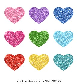 Cute festive vintage glitter hearts for your decoration