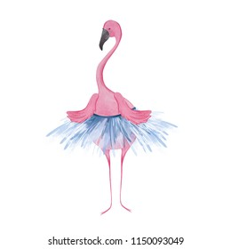Cute flamingo ballerina. Watercolor illustration