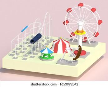 cute flat amusement park scene modeling design art roller coaster viking ferris wheel Mary-go-round 3D illustration rendering