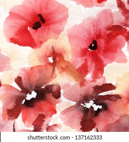 Cute floral background. Watercolor poppies