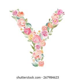 Cute Floral Monogram Letter Y