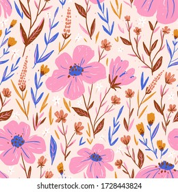 Cute floral seamless pattern in hand-drawn style. Flowers and leaves in pink colors. Fabric design.