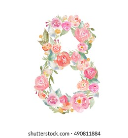 Cute Floral Watercolor Number 8