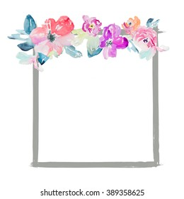 Cute Flower Square Watercolor Frame.