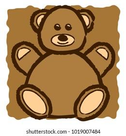 Cute fluffy smiling teddy bear illustration on simple background.