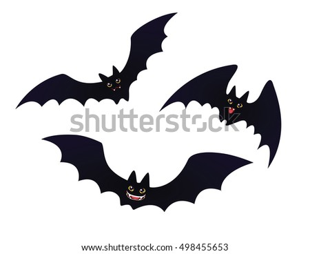 cute flying smiling bats set funny stock illustration royalty free rh shutterstock com Halloween Spider Clip Art Halloween Witch Clip Art