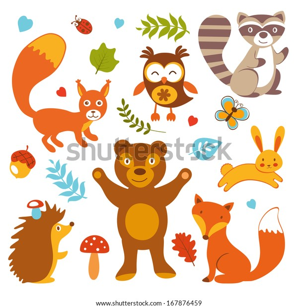 Cute Forest Animals Collection Stock Image | Download Now