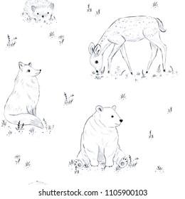 Cute forest animals seamless pattern, fox, bear, fawn, hedgehog