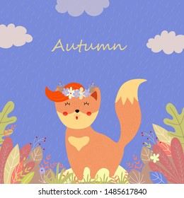 Cute fox in flower wreath with ginger forelock and stand among plants and leaves on field in rainy autumn day, Cartoon flat  hand drawn illustration, scandinavian style, banner, greeting card