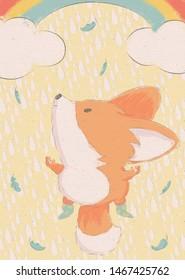 The cute fox on the rainbow