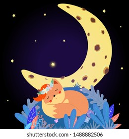 Cute fox sleep on field under moon starry sky. Good Night sweet ginger animal in flower wreath curl up on grass, baby design card Cartoon flat  hand drawn illustration, boho scandinavian style