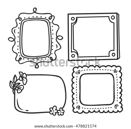 Cute Frame Doodle Style Stock Illustration - Royalty Free Stock ...