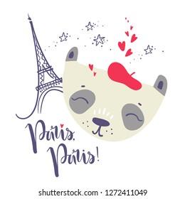 Cute French baby panda. Hand drawn  illustration. For kid's or baby's shirt design, fashion print design, graphic, t-shirt,kids wear. Paris, Paris