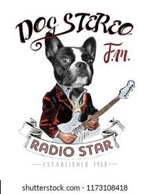 Cute french bulldog illustration.Musician dog cartoon character.Men's t shirt graphic artwork.Animal print.Art background for pet shop.Watercolor portrait.