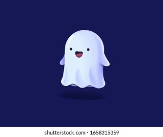 cute friendly Ghost and blue background.