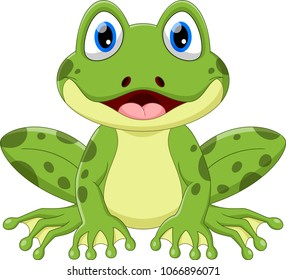Cute frog cartoon isolated on white background