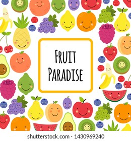Cute Fruit Paradise frame background with various funnny cartoon fruit characters for your decoration