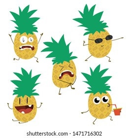Cute, fun, pineapple fruit cartoon character.