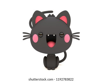 Cute and funny 3D kawaii icon style Halloween Black Cat smiling and standing in white background