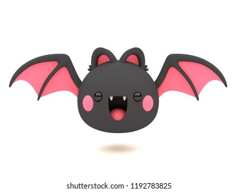 Cute and funny 3D kawaii icon style Halloween Black Bat smiling and flying in white background