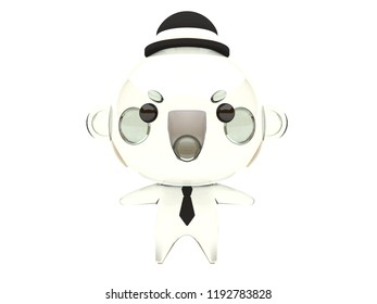 Cute and funny 3D kawaii icon style Halloween Invisible Man monster smiling and standing in white background