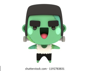 Cute and funny 3D kawaii icon style Halloween Frankenstein monster smiling and standing in white background