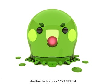 Cute and funny 3D kawaii icon style Halloween Green Blob Slime monster smiling and standing in white background