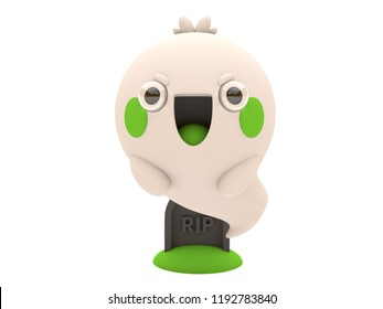 Cute and funny 3D kawaii icon style Halloween Ghost monster smiling and floating in white background