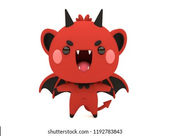 Cute and funny 3D kawaii icon style Halloween Red Devil monster smiling and standing in white background