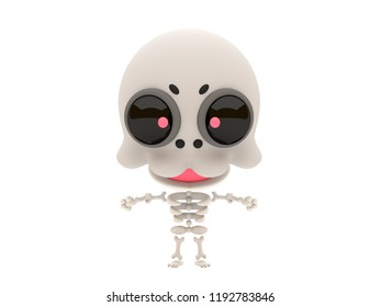 Cute and funny 3D kawaii icon style Halloween Skeleton monster smiling and standing in white background