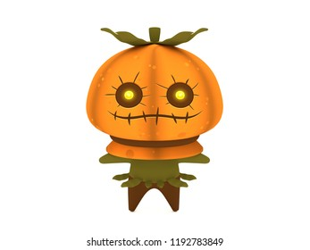 Cute and funny 3D kawaii icon style Halloween Pumpkin Scarecrow monster smiling and standing in white background
