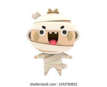 Cute and funny 3D kawaii icon style Halloween Mummy monster smiling and standing in white background