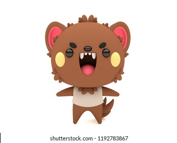 Cute and funny 3D kawaii icon style Halloween Werewolf monster smiling and standing in white background