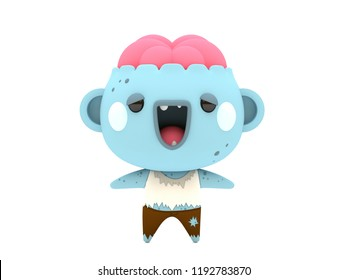 Cute and funny 3D kawaii icon style Halloween Zombie monster smiling and standing in white background