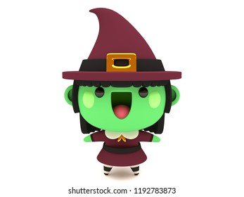 Cute and funny 3D kawaii icon style Halloween Green Witch monster smiling and standing in white background