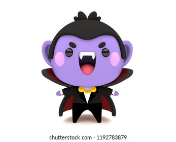 Cute and funny 3D kawaii icon style Halloween Count Dracula Vampire monster smiling and standing in white background
