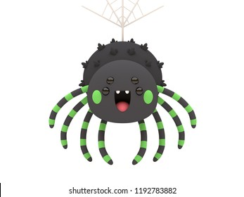 Cute and funny 3D kawaii icon style Halloween Black Spider monster smiling and hanging in white background