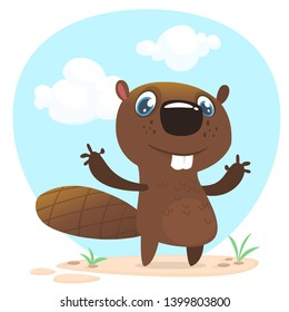 Cute funny cartoon beaver waving with his hands