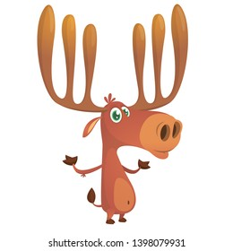 Cute and funny cartoon moose illustration