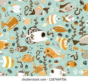 Cute funny fish and worms