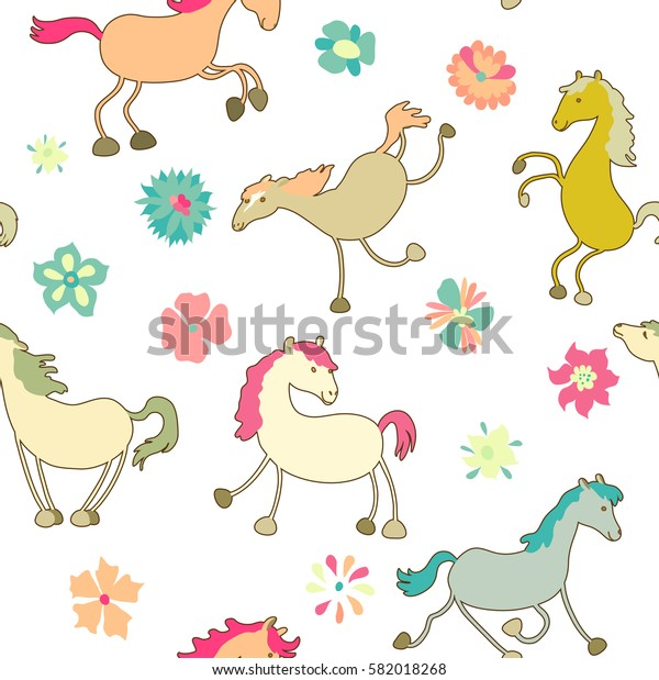 Cute and funny horses. Cartoon style. Vector seamless pattern.