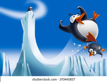 Cute funny penguins sliding down an ice slide and smiling with icebergs on background.