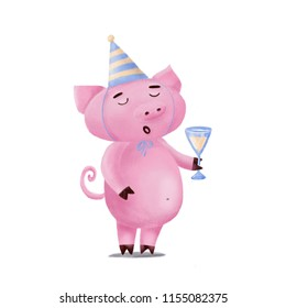 Cute funny pig character in birthday hat holding glass of champagne, singing or giving toast, hand drawn illustration isolated on white background. Cute pig in birthday hat with glass of lemonade