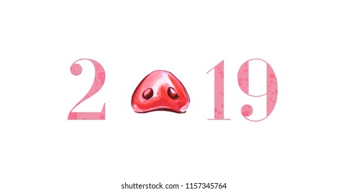 Cute funny pig's nose, 2019 from spot and spray. Happy New Year card design element. Chinese symbol of the 2019 year. Watercolor illustration