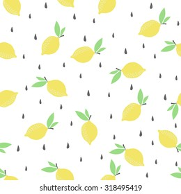 Cute funny seamless pattern with summer strawberries, lemon, ice cream, watermelon. Best for textures, wallpaper, wrapping, scrapbooking. Beautiful romantic summer background