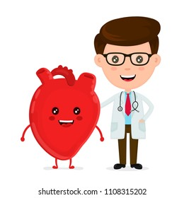 Cute funny smiling doctor and healthy happy heart.Healthcare,medical,friends,doctor concept.  flat cartoon character icon design. Isolated on white background